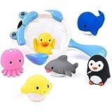 JoyGrow お風呂 おもちゃ 水遊びおもちゃ赤ちゃん 子供 シャワー かわいい 動物すくい 噴水 お風呂 魚網 アヒ…