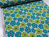 綿麻 マリメッコ風カラフル花柄小 グリーン緑 キャンバス生地  |北欧風|生地|布地|