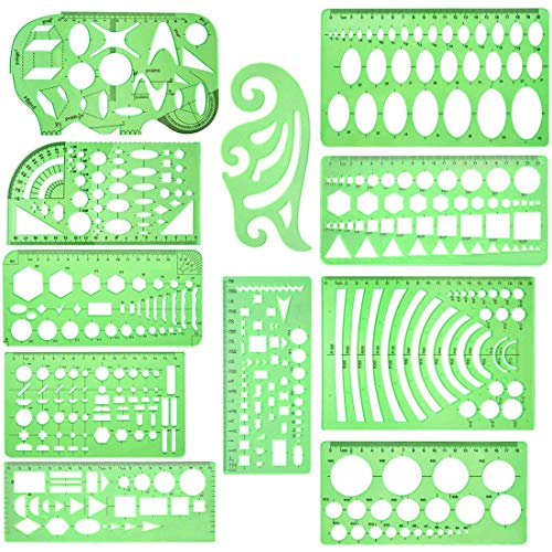 Dennty 図面テンプレート プラスチック測定 製図 円 幾何学定規 透明幾何図面 図面ルーラ テンプレートルーラ一般総合定規 計量製図用品