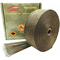 LEDAUT(レダホト) サーモ バンテージ 耐熱800度 玄武岩繊維 断熱布 やけど予防 テープ バンテージ 断熱布 ステンレ バイク マフラー 結束バンド付き 幅5CM*15M