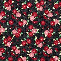ドビー織り 生地 麻の葉桜 50cm単位販売 布 綿 (ブラック)