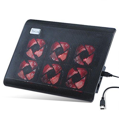 RooLee® ノートパソコン 冷却パッド 冷却台 ノートPCクーラー USBケーブル付き クール 超静音 USBポート2口 USB接続 LED搭載 高度調節可 風量調節可 超薄型デザイン15.6インチ型まで対応 6ファン PS3 PS4 1100RPM 12ヶ月保証