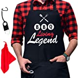 (Bbq Living Legend) - GrilliACS BBQ Aprons for Men, 2 Big Pockets, Bottle Opener & Towel, 100% Cotton Canvas, Father's / Dad