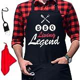 (Bbq Living Legend) - GrilliACS BBQ Aprons for Men, 2 Big Pockets, Bottle Opener & Towel, 100% Cotton Canvas, Father's / Dad
