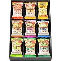 アマノフーズ バラエティギフト M‐100P 全9食(いつものおみそ汁:なめこ1食、豚汁1食、ごぼう1食、なす1食、とうふ1食、野菜1食、長ねぎ1食、ほうれん草1食/たまごスープ1食)
