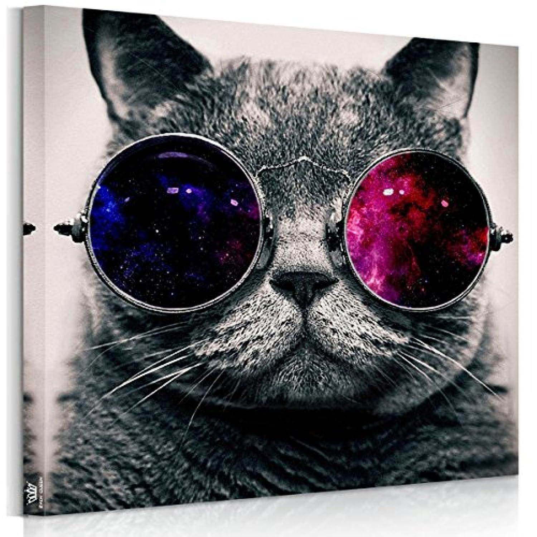 【猫開運絵】アートパネル 猫 フォトフレーム 猫 かわいい インテリア 雑貨猫 壁キャンバス絵画 インテリア 動物 木枠セット 50*50cm*1