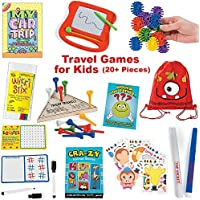 20 Piece Travelアクティビティゲームバッグfor Boys and Girls |旅行ゲームfor Kids in Car and on airplane |教育ゲームとアクティビティfor Family Fun and独立Play Withストレージバックパック