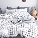 NANKO Queen Duvet Cover Set Grid, 90x90 Soft Bedding Cover, Luxury Cool Lightweight Microfiber 3pc Set (1 Cover 2 Pillowcase)