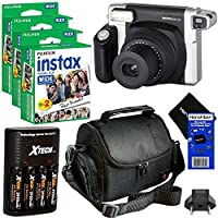 Fujifilm INSTAX 300 Wide-Format Instant Photo Film Camera (Black/Silver) + Fujifilm instax Wide Instant Film Twin Pack (60 sheets) + 4 AA High Capacity Rechargeable Batteries with Battery Charger + Camera Case + HeroFiber Ultra Gentle Cleaning Cloth
