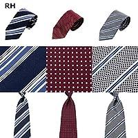 Biz Like Style オリジナル 洗えるネクタイリクルート&フレッシャーズ向き3本セット 8cm巾 10タイプ r3 (RH紺ストライプ・エンジドット・グレーストライプ)