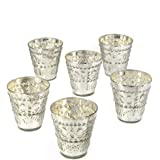 Serene Spaces Living Silver Votive Holders Vintage Embellished Style Measures 3 Tall and 3 Diameter Set of 6