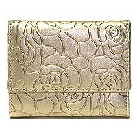 022fa6295efd [アウニイ] ミニ ウォレット 二つ折り 手のり 財布 コンパクト 手のひら サイズ レディース (ゴールド 花柄型押し)