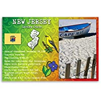 New Jersey State Factsポストカードのセット20identicalはがき。Post Cards with NJ事実と状態シンボル。Made In USA。