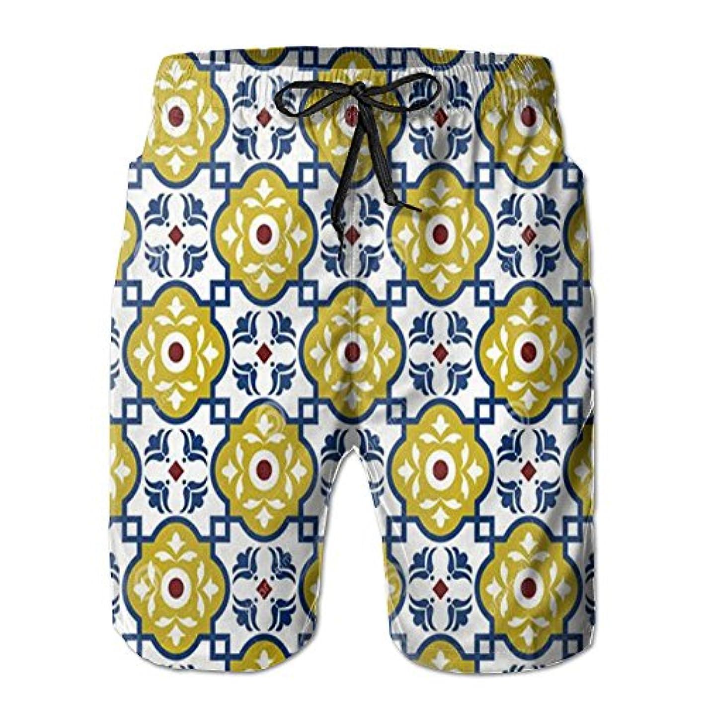 ここに滑り台進むフラワー 紳士のファッションと快適のビーチショーツ スイムショーツ メッシュインナー 通気 速乾 ビーチズボン 海水パンツ ショートパンツ