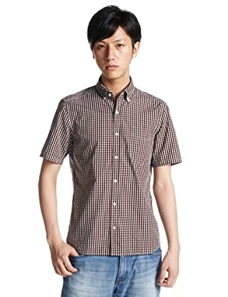 Short Sleeve Graph Check Buttondown Shirt 3216-299-0310: Dark Brown