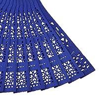 Baoblaze 選べる ヴィンテージ 木製 工芸 中空彫刻 ハンドファン 扇子 折りたたみ式 - ブルー