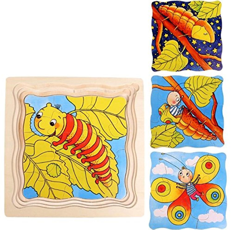 幼児期のゲーム 創造的な木製の漫画の多層パズルアーリーラーニング番号の形の色の動物のおもちゃキッズのための素晴らしいギフト(バタフライ)