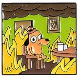 Shinmond 3Styles THIS IS FINE Enamel Pins Custom Cartoon Dog Brooches Lapel Pin Shirt Bag Funny Animal Badge Jewelry Gift Fan