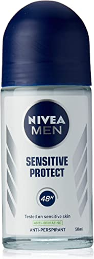 NIVEA MEN Sensitive Protect Roll On Anti-Irritating Anti-Perspirant Deodorant with soothing Chamomile Extract & Avocado Oil 5