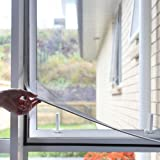 """Adjustable DIY Magnetic Window Screen Max 55""""H x 36""""W Fits Any Size Smaller with White Frame Fiberglass Mesh"""