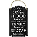 Bigtime Signs Bless Our Family Food Love - Heart Warming Quote - Strong PVC with Rope for Hanging - Country, Rustic House, Ki