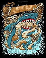 Notebook: octopus v shark  College Ruled - 50 sheets, 100 pages - 8 x 10 inches
