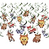 30-Count Swirl Decorations ? Woodland Animals Decor Birthday Party Decorations Ceiling Streamers Hanging Whirls for Kids Multicolored - Hanging Length: 30 ? 37 Inches [並行輸入品]