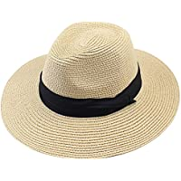 FURTALK Women Wide Brim Straw Roll up Hat Fedora Beach Sun Hat UPF50+ Packable Straw Jazz Panama Cap for Women Men