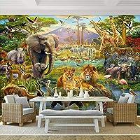 Xueshao 3D写真の壁紙壁画漫画の森動物の世界の子供たちの子供の寝室のリビングルーム象のライオン壁画の壁紙3D-350X250Cm