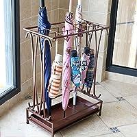 アイアンアート傘スタンドホテルフロアスタンドレインギア固体と耐久性17 * 9 * 24インチ15穴と16フック 収納用品 (Color : Brown)