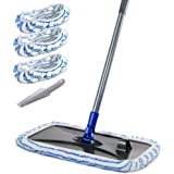 Masthome Large Area Cleaning Hardwood Floor Microfiber Mop Flat Wet Mops with 2 Mop Refills and Scraping Dust Tool