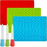 Gummy Worm Silicone Molds with 3 Droppers, SENHAI 3 Pack Gumdrop Molds Ice Cube Trays for Jelly Chocolate Soap Cake Wax, Avai