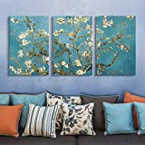 "wall26 3 Panel Canvas Wall Art - Almond Blossom by Vincent Van Gogh - Giclee Print Gallery Wrap Modern Home Decor Ready to Hang - 16""x24"" x 3 Panels"