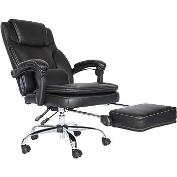 MR-STORE オフィスチェア リクライニング調整機能&足置き付き 上下可動腰クッション PVC (BK)