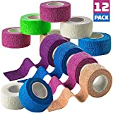 Self Adherent Cohesive Wrap Bandages - (Pack of 12 Rolls) 1 Inch X 5 Yards with Strong Elastic and Colorful First Aid Tape for Sprain Swelling and Soreness on Wrist and Ankle (Rainbow Color)