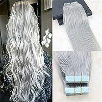 HairDancing 40cm 髪拡張においてテープ 色のグレーシルバー まっすぐレミーヘアー シームレスな皮のよこ糸 人間の髪拡張 接着剤について 20pcs/50g
