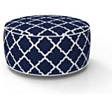 FBTS Prime Outdoor Inflatable Ottoman Navy Round 21x9 Inch Patio Foot Stools and Ottomans Portable Travel Footstool Used for