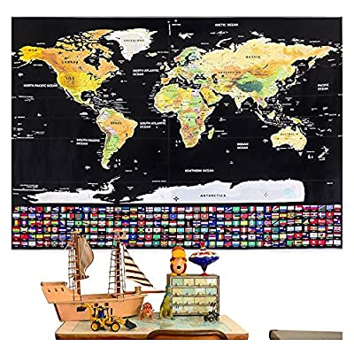 Rabbitgoo Scratch Off World Map Poster with Country and Region Flags, World Travel Tracker Map Wall Map Decoration Gift Idea for Adventurers and Geography Enthusiasts