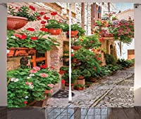 VamJump トスカーナの装飾遮光カーテン 昼夜目隠し 洗える 遮像 デコレーション 取り付け簡単、花のポーチとロックハウスの地中海風アートのあるルネッサンス様式の町のストリートビュー、リビングルームのベッドルームの装飾、マルチ 2枚組 幅135cm丈135cm