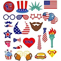 BESTOYARD 4th of July Photo Props for American Independence Day Patriotic Photo Booth Props Party Decorations Party Favors 25pcs [並行輸入品]