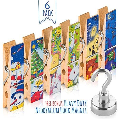 Treats & Smiles冷蔵庫マグネットクリスマスセット–6Big磁気クリップwith Holiday Designs–ハング写真、・メモ&レシピon yourホワイトボード、キッチン、オフィスや教室+ 1磁気フック。