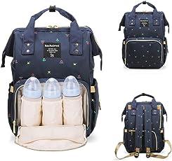 Kachabrosマザーズバッグママバッグリュックハンドバッグおしゃれ多機能大容量シンプル防水大容量軽量ベビー用品収納ママバッグ出産準備出産祝い良いデザイン (青い花)