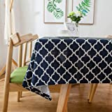 Lamberia Tablecloth Waterproof Spillproof Polyester Fabric Table Cover for Kitchen Dinning Tabletop Decoration, Navy Moroccan