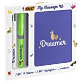 BIC 972091 My Message Kit Dreamer - Stationery Set with 1 BIC 4 Colours Ballpoint Pen, 1 BIC Highlighter Grip Pen - Green, 1