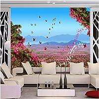Sproud 壁紙リビングルーム風景バイオレットの花海リビングルームベッドルームのテレビの背景 Papel De Parede Para Estar Sala 400 Cmx 280 Cm
