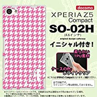 SO02H スマホケース Xperia Z5 Compact カバー エクスペリア Z5 コンパクト ソフトケース イニシャル 千鳥柄 ピンク白 nk-so02h-tp902ini G