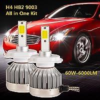 SUP-LIGHT 60W 6000LM Super Bright H4 HB2 9003 Hi/Lo LED Headlight Conversion Kit Fanless All-In-One Design 6000K Diamond White-2 Year Warranty [並行輸入品]