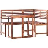 vidaXL 2 Piece Solid Acacia Wood Bistro Set Patio Folding Table & Chair Set Corner Bench Outdoor Dining Garden Conservatory F