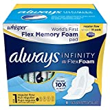 Whisper Always Infinity Regular Pads with Wings (Size 1), Unscented, 18ct