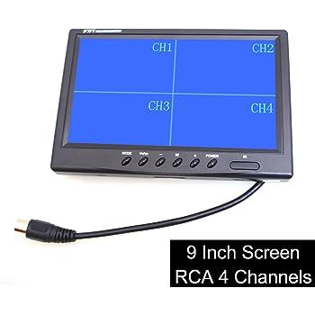 9インチ 4分割対応表示 液晶モニター 12V/24V トラック/自動車汎用 4xRCAの映像入力 オンダッシュ/ヘッドレストスタンド取り付ける